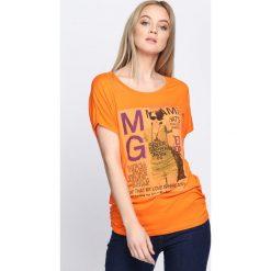 Pomarańczowy T-shirt Solitary. Brązowe bluzki damskie Born2be, uniwersalny. Za 9,99 zł.