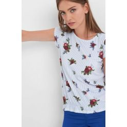 T-shirty damskie: Koszulka w prążki i kwiaty