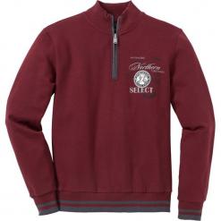 Bluza ze stójką Regular Fit bonprix czerwony rubinowy. Czerwone bluzy męskie rozpinane marki KALENJI, m, z elastanu, z długim rękawem, długie. Za 109,99 zł.
