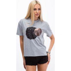 T-shirty damskie: Jasnoszary t-shirt z wprasowaną aplikacją 3423