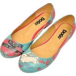 """Baleriny damskie lakierowane: Baleriny """"Be Brave, Little Rabbit"""" z kolorowym wzorem"""