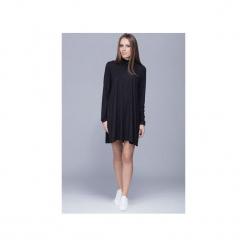 Trapezowa sukienka z golfem czarna H013. Zielone sukienki mini marki Harmony, na co dzień, na zimę, z golfem, z krótkim rękawem, proste. Za 199,00 zł.