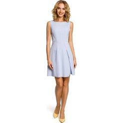 Odzież damska: Gładka sukienka bez rękawów – błękitna