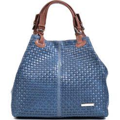 Torebki klasyczne damskie: Skórzana torebka w kolorze niebieskim – (S)30 x (W)36 x (G)17 cm