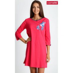 Koralowa piżama koszula nocna w ptaki QUIOSQUE. Pomarańczowe piżamy damskie QUIOSQUE, na jesień, xxl, w kolorowe wzory, z bawełny, z długim rękawem. Za 99,99 zł.