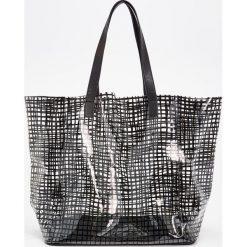 Shopper bag damskie: Przezroczysta torba shopper – Czarny