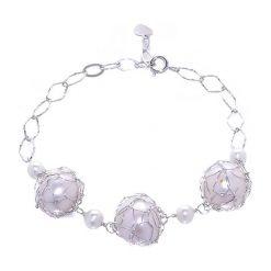 Bransoletki damskie na nogę: Srebrna bransoletka z perłami
