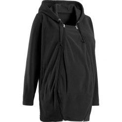 Bluza z polaru ciążowa, z wstawką niemowlęcą na nosidełko bonprix czarny. Czarne bluzy ciążowe marki bonprix. Za 129,99 zł.