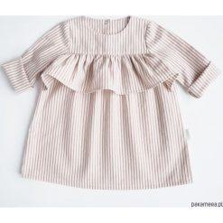 Sukienka z falbanką, PINK STRIPES. Różowe sukienki dziewczęce z falbanami Pakamera, z bawełny, z długim rękawem, długie. Za 85,00 zł.
