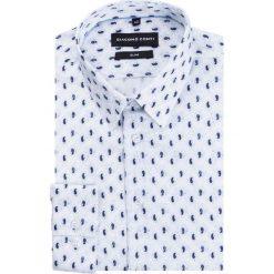 Koszula SIMONE KDWS000216. Niebieskie koszule męskie na spinki marki bonprix, m, z nadrukiem, z klasycznym kołnierzykiem, z długim rękawem. Za 199,00 zł.