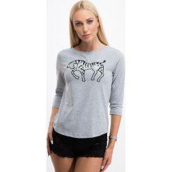 Bluzki damskie: Jasnoszara bluzka z cekinową aplikacją 3308