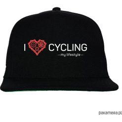 Czapka FullCap. I love cycling - my lifestyle. Czarne czapki z daszkiem damskie marki Pakamera, z nadrukiem. Za 69,00 zł.
