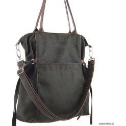 AMBER - duża torba - shopper - khaki i brąz. Brązowe shopper bag damskie Pakamera, z tkaniny, na ramię, duże. Za 189,00 zł.