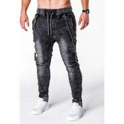 Spodnie męskie: SPODNIE MĘSKIE JEANSOWE JOGGERY P647 – CZARNE