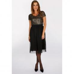 """Sukienka """"Waouh"""" w kolorze czarnym. Czarne sukienki balowe marki Scottage, z tiulu, midi, rozkloszowane. W wyprzedaży za 108,95 zł."""