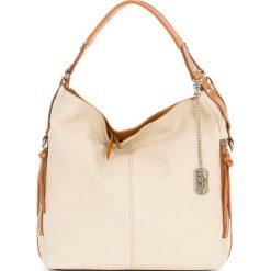 Torebki klasyczne damskie: Skórzana torebka w kolorze beżowo-brązowym – 36 x 39 x 16 cm