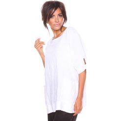 """Bluzki asymetryczne: Lniana koszulka """"Nelia"""" w kolorze białym"""