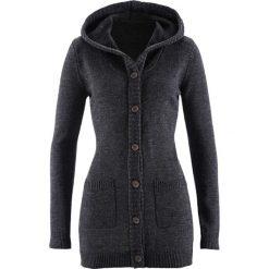 Swetry rozpinane damskie: Sweter rozpinany z kapturem bonprix czarny melanż
