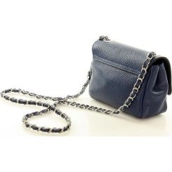 Listonoszki damskie: FRANCESCA Elegancka torebka listonoszka skórzana granatowa