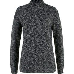 Sweter ze stójką bonprix czarno-szary melanż. Czarne swetry klasyczne damskie bonprix, ze stójką. Za 37,99 zł.