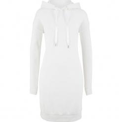 Sukienka dresowa z kapturem bonprix biel wełny. Szare sukienki dresowe marki bonprix, melanż, z kapturem, z długim rękawem, maxi. Za 59,99 zł.