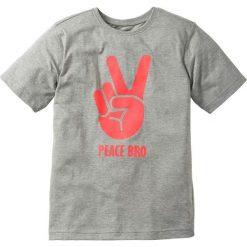 Koszulka bonprix jasnoszary melanż. Czarne t-shirty chłopięce z nadrukiem marki bonprix, z dresówki. Za 22,99 zł.