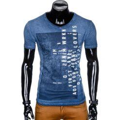 T-SHIRT MĘSKI Z NADRUKIEM S891 - GRANATOWY. Niebieskie t-shirty męskie z nadrukiem Ombre Clothing, m. Za 39,00 zł.