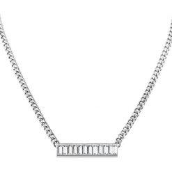 Naszyjniki damskie: Naszyjnik w kolorze srebrnym z kryształami Swarovski – (D)45 cm