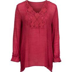 Długa bluzka bonprix ciemnoczerwony. Czerwone bluzki longsleeves bonprix, z aplikacjami. Za 99,99 zł.