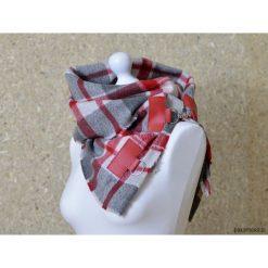 Szal w kratę ze skórą, Komin Unisex - czerwony. Szare szaliki damskie marki Panapufa, na zimę, z materiału. Za 71,00 zł.