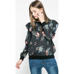 Answear - Bluzka Blossom Mood. Szare bluzki asymetryczne ANSWEAR, l, z materiału, casualowe, z okrągłym kołnierzem. W wyprzedaży za 49,90 zł.