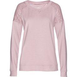 Bluzy damskie: Bluza z koronką bonprix matowy jasnoróżowy