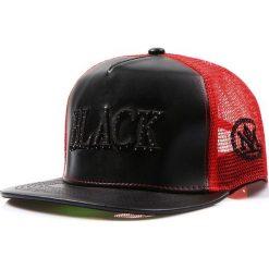 Czapka męska trucker snapback czarna (hx0189). Czarne czapki z daszkiem męskie marki Dstreet, z haftami, ze skóry ekologicznej, eleganckie. Za 69,99 zł.