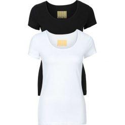 T-shirty damskie z okrągłym dekoltem (2 szt.) bonprix biały + czarny. Białe t-shirty damskie bonprix, z okrągłym kołnierzem. Za 49,98 zł.