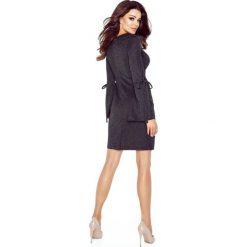 Swetry klasyczne damskie: OLGA sukienka z wiązanymi rękawami SWETER CZARNY BŁYSK