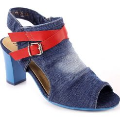 Rzymianki damskie: Sandały damskie zabudowane jeansowe Jezzi