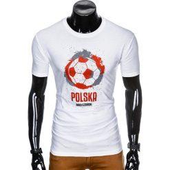 T-SHIRT MĘSKI Z NADRUKIEM S965 - BIAŁY. Białe t-shirty męskie z nadrukiem marki Ombre Clothing, m. Za 29,00 zł.