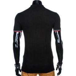 KOSZULKA MĘSKA POLO BEZ NADRUKU S881 - CZARNA. Czarne koszulki polo Ombre Clothing, m, z nadrukiem. Za 39,00 zł.
