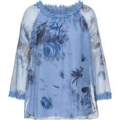 Tunika z koronką bonprix jasnoniebieski w kwiaty. Niebieskie tuniki damskie w kwiaty bonprix, z koronki. Za 109,99 zł.