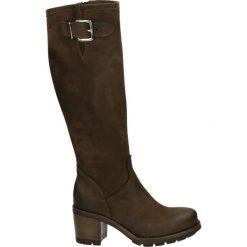Kozaki - 2410 NAB TDM. Brązowe buty zimowe damskie Venezia, z nubiku. Za 499,00 zł.