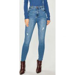 Answear - Jeansy. Niebieskie jeansy damskie rurki ANSWEAR, z bawełny, z podwyższonym stanem. Za 129,90 zł.