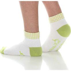 Skarpetki damskie: Skarpety w kolorze biało-zielonym