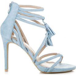 Rzymianki damskie: Zamszowe sandałki boho na szpilce  LAVINIA odcienie niebieskiego