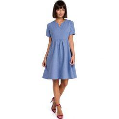 ABEL Sukienka mini odcinana pod biustem - niebieska. Niebieskie sukienki hiszpanki BE, na lato, l, z tkaniny, mini, oversize. Za 154,90 zł.