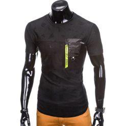 T-shirty męskie: T-SHIRT MĘSKI BEZ NADRUKU S865 - CZARNY