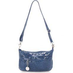 Torebki klasyczne damskie: Skórzana torebka w kolorze granatowym – 25 x 16 x 5 cm