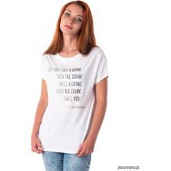 Koszulka z cytatem, Fitzgerald, The Drink. Szare bluzki z odkrytymi ramionami marki Pakamera, l, z krótkim rękawem. Za 89,00 zł.