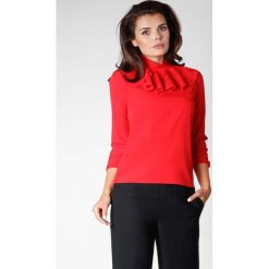 Czerwona Elegancka Bluzka na Stójce z Falbankami. Czerwone bluzki longsleeves marki Molly.pl, l, eleganckie, z falbankami. W wyprzedaży za 102,21 zł.