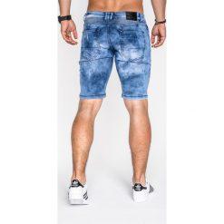 KRÓTKIE SPODENKI MĘSKIE JEANSOWE P528 - NIEBIESKIE. Czarne spodenki jeansowe męskie marki Ombre Clothing, m, z kapturem. Za 49,00 zł.