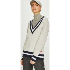 Tommy Jeans - Sweter. Szare swetry klasyczne damskie Tommy Jeans, l, z bawełny. Za 399,90 zł.